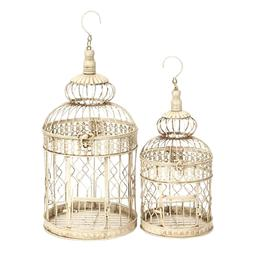66519 Metal Bird Cage S/2 Birds Too Like This Home Stay