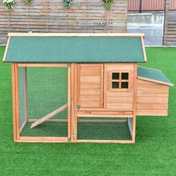 "67"" Pet Wooden House Rabbit Hutch Chicken Coops Cage Nest Bo"