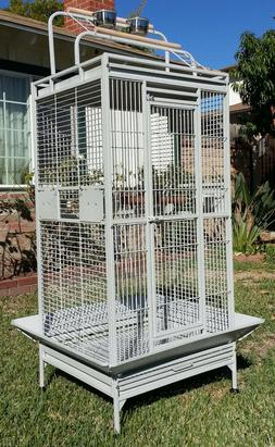 "Rolling 68"" Large Bird Cage For Conure Grey Parrots Cockatie"
