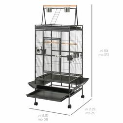 "68"" Medium Large Bird Cage Wood Perch Stainless Steel Feedin"
