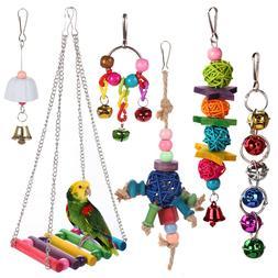 6pcs Bird Ladder Swing Toys Play Set fun Colorful Hanging Be