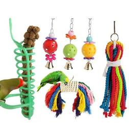 6Pcs/set Bird Parrot Toys Swing Chewing Playground Gym Macaw