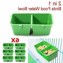 6X 2 in 1 Hamster Cage Dual Feeding Cups Parrot Bird Food Wa