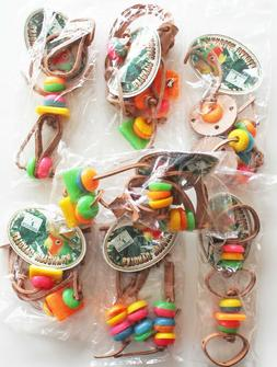 7 PCS Wrangler Dangler Leather Bead Hanging Bird Cage Toys M