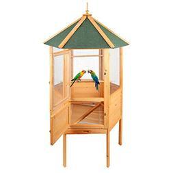 "Magshion 70"" Stunning Wooden Aviary Hexagonal House Bird Cag"