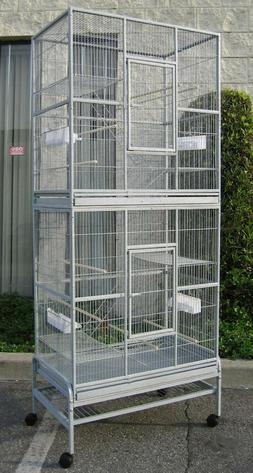 "76"" Large Double Stackable Canary Budgie Aviary Cockatiel Gl"