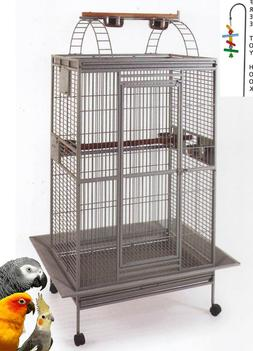 "78"" Wrought Iron Rolling Large Bird Cages for African Grey M"