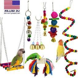 7PCS Bird Ladder Swing Toys Play Set fun Colorful Hanging Be