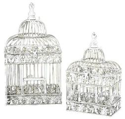 Deco 79 82676 2-Piece Metal Square Bird Cage Set