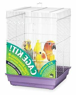 Prevue Hendryx 91210 Square Roof Bird Cage Kit, White and Pu