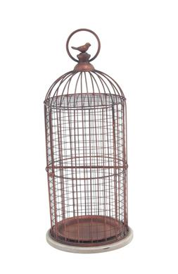 94673 decorative bird cage bronze white
