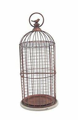 Deco 79 94673 Decorative Bird Cage, Bronze/White