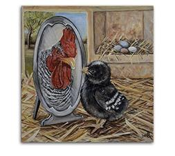 Chicken Artwork Print for Rooster Farmhouse Kitchen Decor, s
