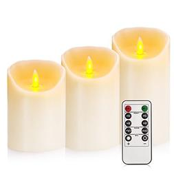 "Flameless Candles 4"" 5"" 6"" Set of 3 Ivory Dripless Real Wax"