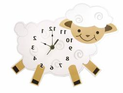 Trend Lab Baby Barnyard Lamb Shaped Wall Clock, Cream