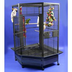 A and E Cage Co. Large Corner Bird Cage 14022 Black