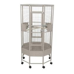 A and E Cage Co. Octagon Parrot Bird Cage Black