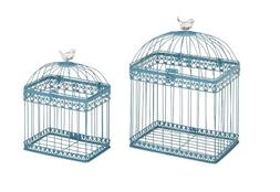 Benzara Adorable and Unique Acrylic Bird Cages, Green, Set o