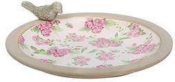 Esschert Design USA Aged Ceramic Bird Bath Rose Print