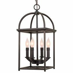 "Revel Amesbury 21"" Foyer Lantern 4-Light Chandelier, Bronze"