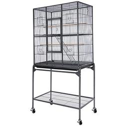 Small Animals Cage Pet Crate Double Stage w/ Stand - Black