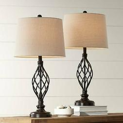 Annie Iron Scroll Table Lamps Set of 2