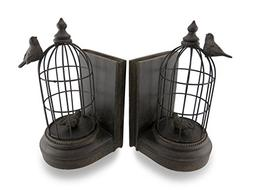 Antique Bronze Finish Bird Cage Bookends Set of 2