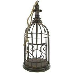 Antique Brown Metal Vintage Decorative Bird Cage, Floral Cag