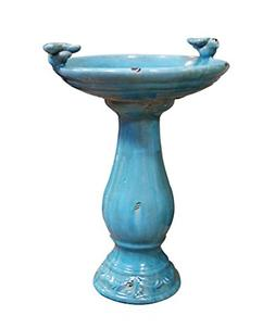 Antique Ceramic Bird Bath with 2 Birds - Colour: Turquoise