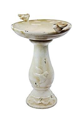 "Alpine Antique Ceramic Birdbath With Birds, Light Brown, 24"""
