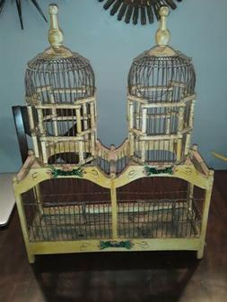 ANTIQUE COLLECTIBLE DECORATIVE WOOD AND WIRE VICTORIAN DOUBL