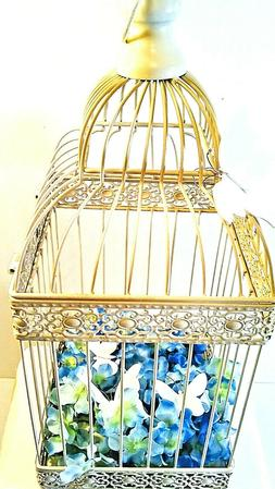 Antique Cream Metal Decorative Bird Cage - Wedding Venue, De