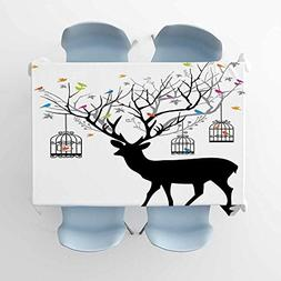 Antlers Decor Outdoor Picnics Deer with Colorful Birds and B