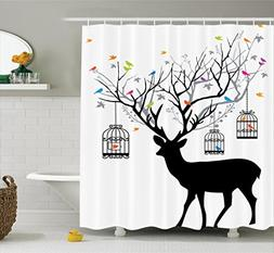 Ambesonne Antlers Decor Shower Curtain Set, Deer With Colorf