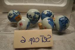 Asain Bamboo Bird Cages Ceramic Set 6