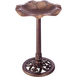 Gardman BA01282 Lily Leaf Pedestal Bird Bath, Antique Copper