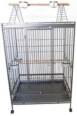 YML 1-Inch Bar Spacing Play Top Wrought Iron Parrot Cage, 40