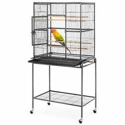BCP 53in Iron Bird Cage w/ Wheels, Feeding Doors - Black