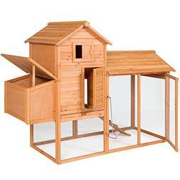 """BCP 80"""" Wooden Chicken Coop Backyard Nest Box Wood Hen House"""