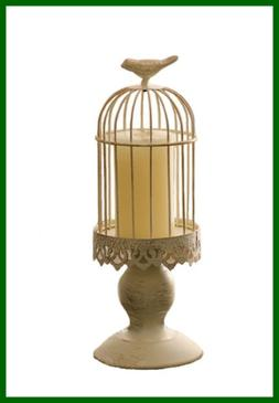 Beautiful Elegant Warving WHITE Birdcage Candle Holder For W