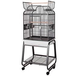 HQ Beige Opening Scroll Top with Cart Stand Bird Cage, 22 L