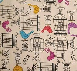 Bird Cage Birds Animal Toss Ecru Cotton Fabric QT Tail of Tw