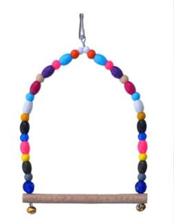Bird Cage Finch Toys Hang Small Swing Beads Bells Wooden Per