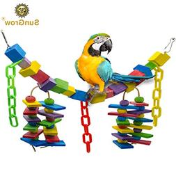 Bird Cage Hanging Blocks Toy - Rainbow Colored Bridge - Wood
