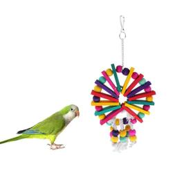 Bird Cage Hanging Ornament Toy Wood Blocks Toys for Small Me
