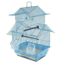Bird Cage House Style - BLUE - Starter Kit, Swing Perch Feed