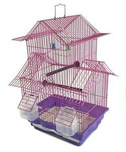 Bird Cage House Style - Pink - Starter Kit, Swing Perch Feed