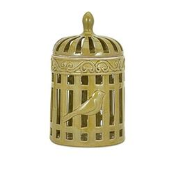 "13"" Bird Cage Inspired Glazed Olive Yellow Ceramic Decorativ"
