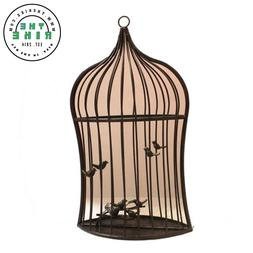 Benzara Bird Cage Iron Garden Mirror With Ring Hanger, Brown
