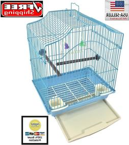 BIRD CAGE KIT Blue Starter Set Perches Swing Feeders Scallop